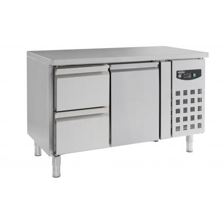 Table réfrigérée en inox - 1 porte 2 tiroirs - 7950-cbs-0200